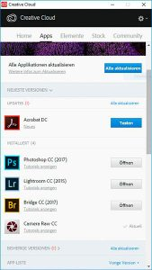 Screenshot Infofenster Creative Cloud