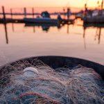 Letztes Abendlicht setzt Boote, Brücken und die Netze der Fischer auf dem Holm in Schleswig an der Schlei in Szene. Kamera: Fujifilm GFX 100S.