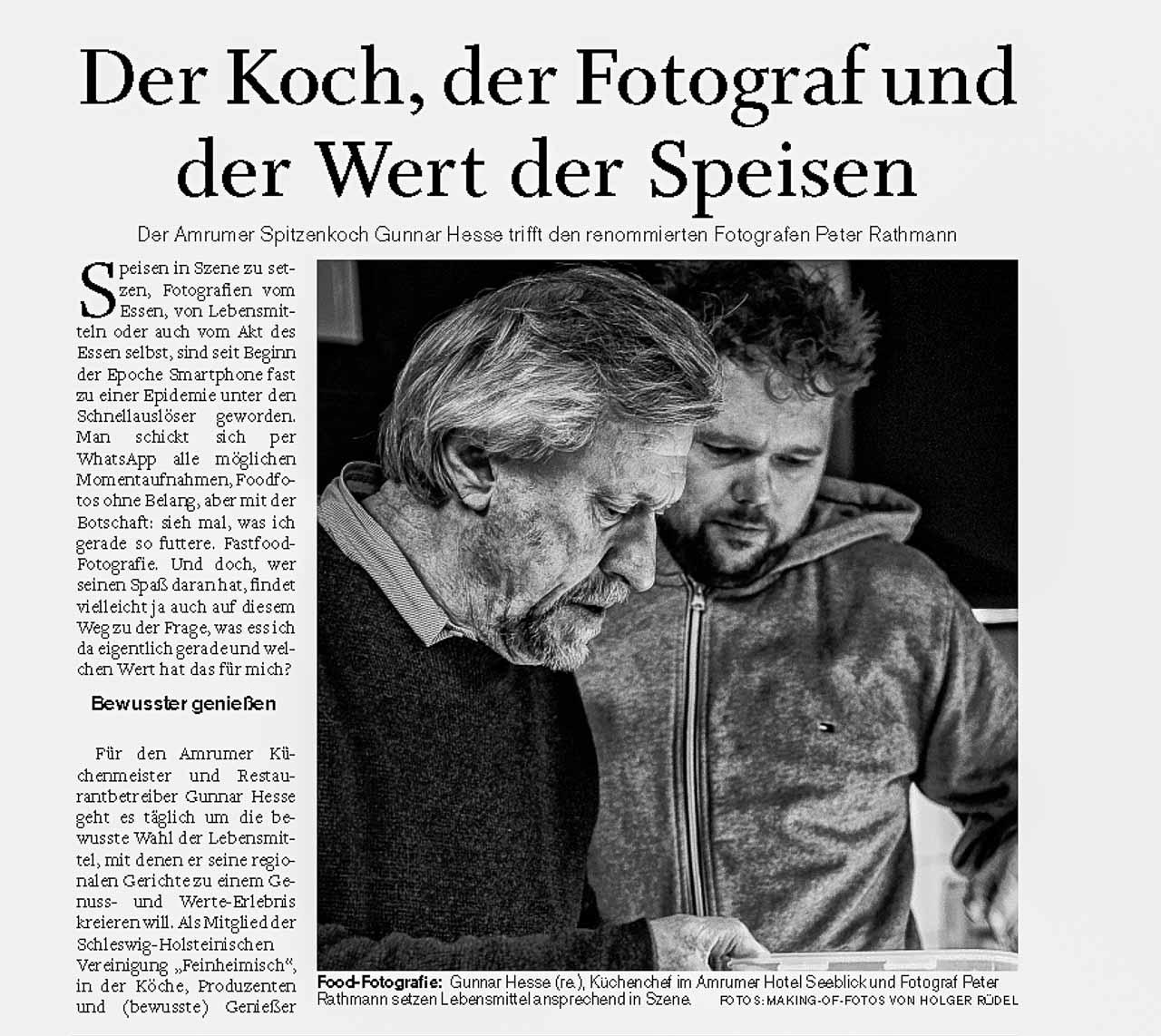 Artikel über den Amrumer Koch Gunnar Hesse und den Food-Fotografen Peter Rathmann mit Making-of-Aufnahmen von Holger Rüdel im Inselmagazin 2019