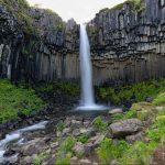 """Svartifoss, der """"schwarze Wasserfall"""", liegt im Skaftafell-Nationalpark im Südosten Islands, eingebettet in eine Schlucht mit Basaltsäulen."""