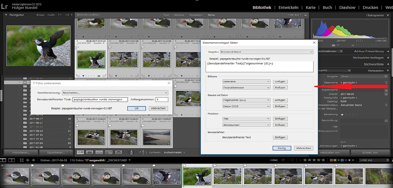 Screenshot Lightroom Stapelumbennenung