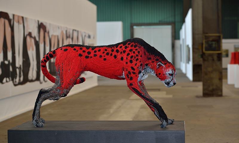 NordArt 2014 Kunstwerk Carlshütte: Gepard von Nevena Vuksanovic aus Serbien © Holger Rüdel www.holger-ruedel.de