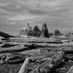 Wilde Pazifikküste im Olympic National Park im Nordwesten der USA: Ruby Beach, hier fotografiert mit einer digitalen Infrarotkamera in Schwarzweiß.