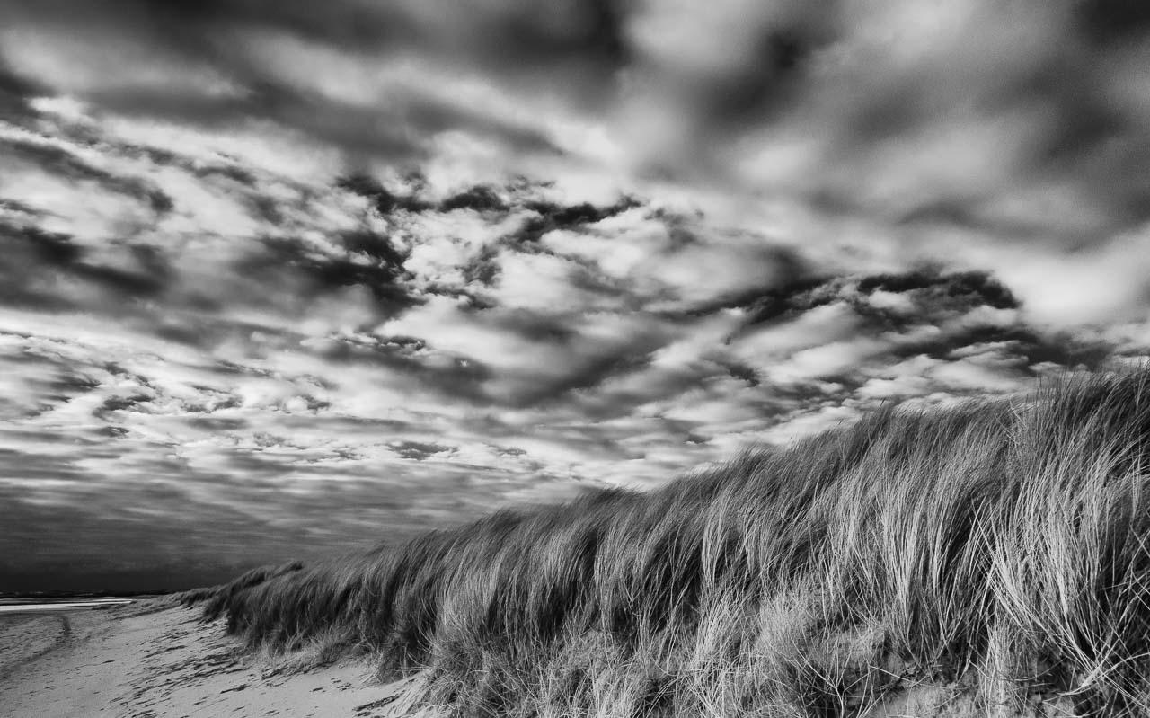 Dünen, Heide, weiter Sandstrand und das Meer prägen im Norden der Insel Sylt das Naturschutzgebiet Ellenbogen. Das Bild zeigt die sturmgeprägte Dünenlandschaft südlich der Ellenbogenspitze an einem windigen Tag im Dezember.