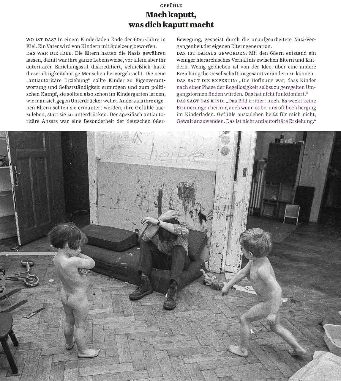 """Magazin """"Familie"""" der Süddeutschen Zeitung mit einem Foto aus der Serie antiautoritärer Kinderladen Kiel 1970 © Holger Rüdel"""