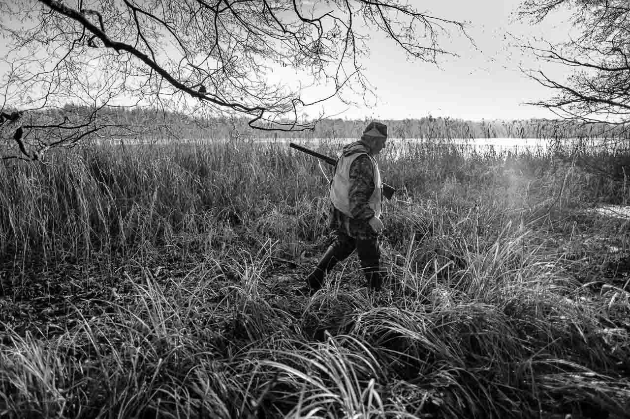 Szenen einer Jagd: Eine Bewegungsjagd ist kein Spaziergang. Hier musste sumpfiges, schwer zugängliches Gelände an einem Gewässer durchquert werden. Die Aufnahme entstand bei einer Bewegungsjagd in Schleswig-Holstein im Dezember 2018.